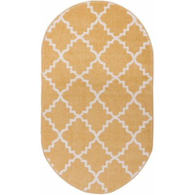 Lewis Lattice Gold Area Rug Rug Size: Oval 27 x 42