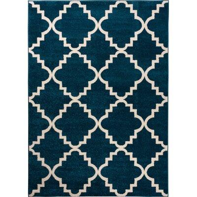 Lewis Lattice Blue Area Rug Rug Size: 53 x 73