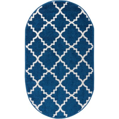 Lewis Lattice Blue Area Rug Rug Size: Oval 27 x 42