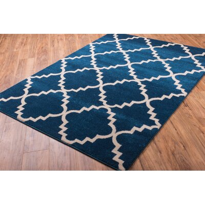 Lewis Lattice Blue Area Rug Rug Size: 53 x 73