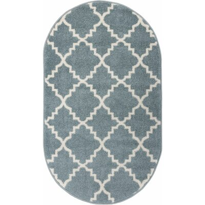 Lewis Lattice Light Blue Area Rug Rug Size: Oval 27 x 42