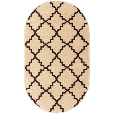 Lewis Lattice Ivory Area Rug Rug Size: Oval 27 x 42