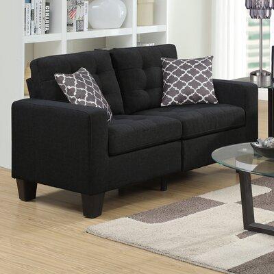 Bateson Loveseat Upholstery: Black