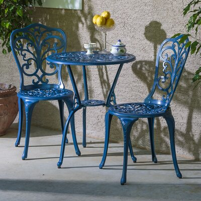 Erik 3 Piece Bistro Set Finish: Loyal Blue