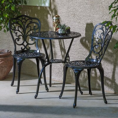 Baileyville 3 Piece Bistro Set Finish: Blacksmith