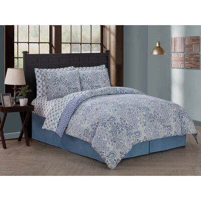 Chesapeake 8 Piece Reversible Bed in a Bag Set Size: Queen, Color: Blue
