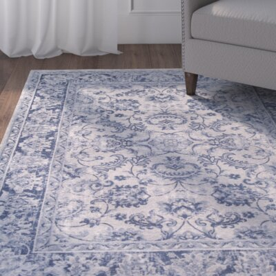 Refton Blue/Ivory Area Rug Rug Size: 67 x 96