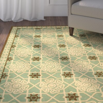 Fullerton Teal/Ivory Geometric Area Rug Rug Size: Rectangle 56 x 86