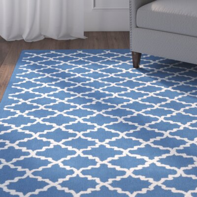 Fullerton Hand-Hooked Cotton Indigo/Ivory Area Rug Rug Size: Rectangle 56 x 86