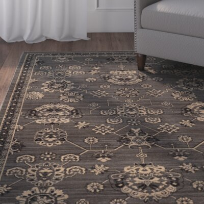 Douglassville Oriental Gray Area Rug Rug Size: Rectangle 9'10