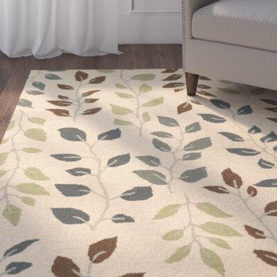 Norvelt Handmade Beige/Green Area Rug Rug Size: 10' x 13'