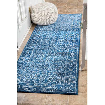 Freemansburg Dark Blue Area Rug Rug Size: Runner 28 x 8