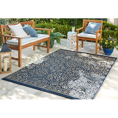 Barker Navy Indoor/Outdoor Area Rug Rug Size: 53 x 76