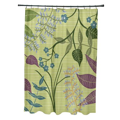 Orchard Lane Polyester Botanical Floral Shower Curtain Color: Green