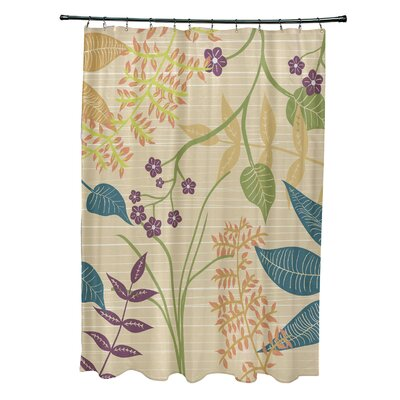 Orchard Lane Polyester Botanical Floral Shower Curtain Color: Gold
