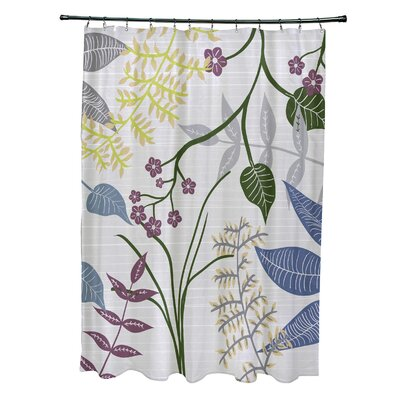 Orchard Lane Polyester Botanical Floral Shower Curtain Color: Gray
