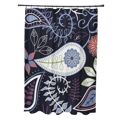 Orchard Lane Polyester Paisley Floral Shower Curtain Color: Navy Blue
