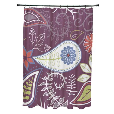 Orchard Lane Polyester Paisley Floral Shower Curtain Color: Purple