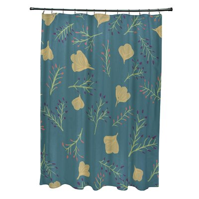 Orchard Lane Polyester Spring Blooms Floral Shower Curtain Color: Teal