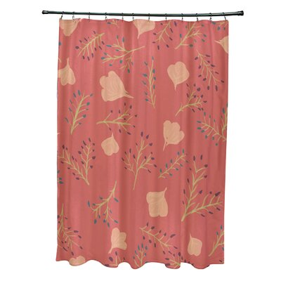 Orchard Lane Polyester Spring Blooms Floral Shower Curtain Color: Coral