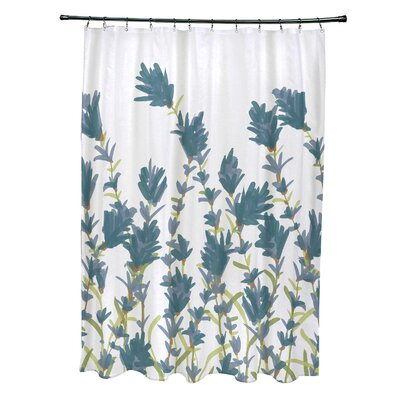 Orchard Lane Polyester Lavender Floral Shower Curtain Color: Blue