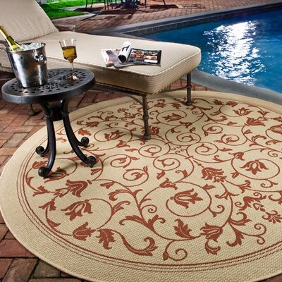 Bexton Beige/Red Outdoor/Indoor Area Rug Rug Size: Round 710