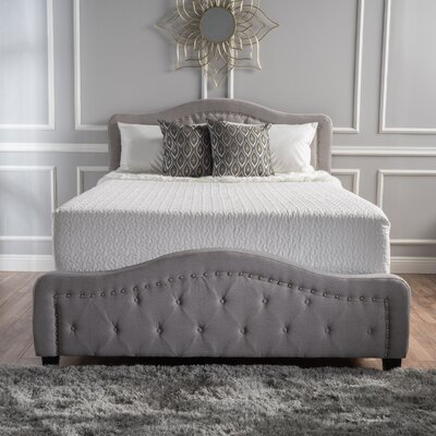 Panel Bed Size: Cal-King, Color: Light Gray