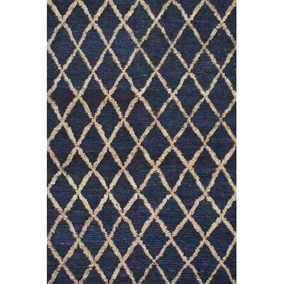 Hand-Knotted Blue/Beige Area Rug Rug Size: 86 x 116