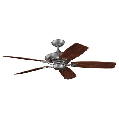 52 Princeton 5-Blade Patio Ceiling Fan Finish: Weathered Steel with Teak/Walnut Blades