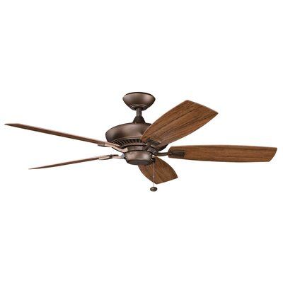52 Princeton 5-Blade Patio Ceiling Fan Finish: Weathered Copper with Dark/Light Walnut Blades