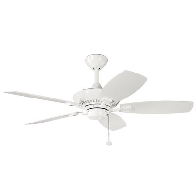 44 Princeton 5-Blade Ceiling Fan Finish: White with White Blades