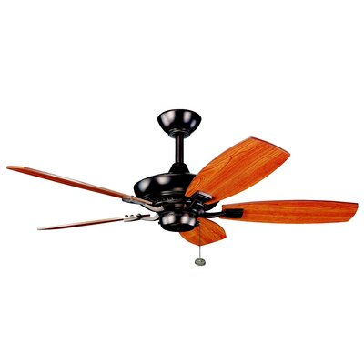 44 Princeton 5-Blade Ceiling Fan Finish: Oil Brushed Bronze with Cherry/Walnut Blades