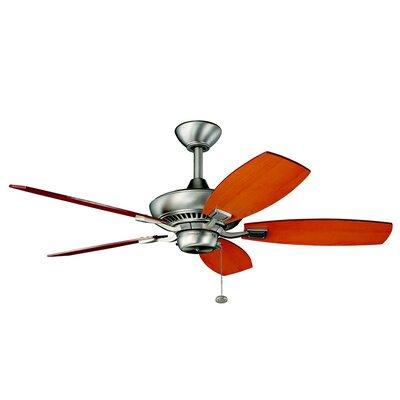 44 Princeton 5-Blade Ceiling Fan Finish: Brushed Nickel with Cherry/Maple Blades