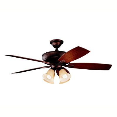 52 Carruthers 5-Blade Patio Ceiling Fan Finish: Weathered Copper with Dark/Medium Walnut