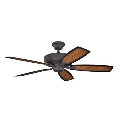 52 Carruthers 5-Blade Patio Ceiling Fan Finish: Distressed Black