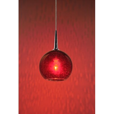 Carvalho 1-Light Globe Pendant Finish: Chrome, Shade Color: Red