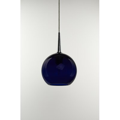 Carvalho 1-Light Globe Pendant Finish: Chrome, Shade Color: Blue