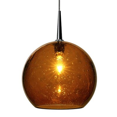 Carvalho 1-Light Globe Pendant Finish: Bronze, Shade Color: Amber