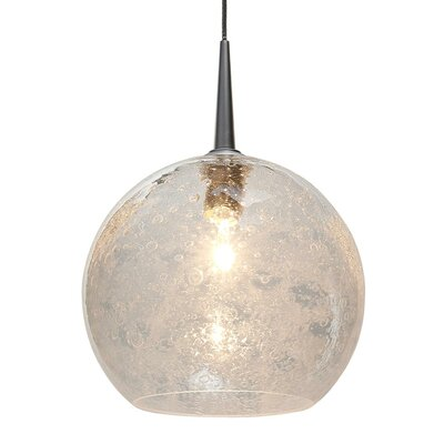 Carvalho 1-Light Globe Pendant Finish: Chrome, Shade Color: Clear