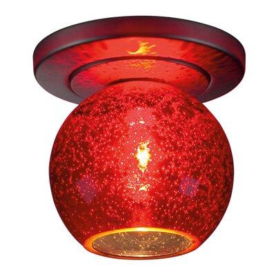 Carvalho 1-Light Semi Flush Mount Fixture Finish: Matte Chrome, Shade Color: Red