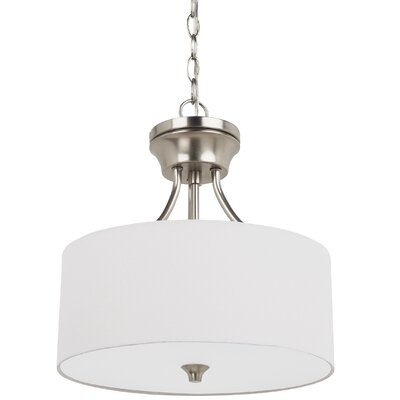 Foland 2-Light Drum Pendant Base Finish: Brushed Nickel, Shade Color: White