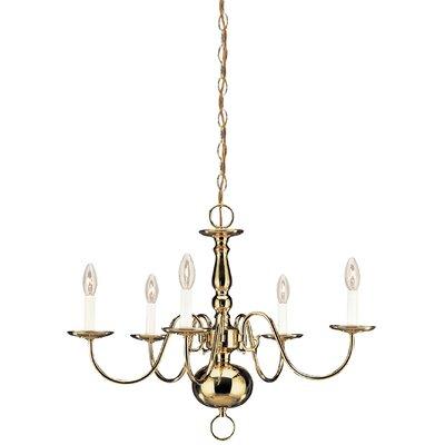Brookville 5-Light Candle-Style Chandelier Finish: Polished Brass