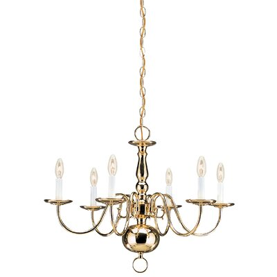 Brookville 6-Light Candle-Style Chandelier Finish: Polished Brass