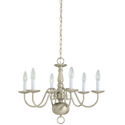 Brookville 6-Light Candle-Style Chandelier Finish: Brushed Nickel