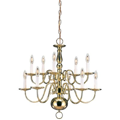Brookville 10-Light Candle-Style Chandelier Finish: Polished Brass