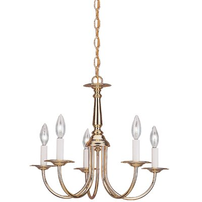 Brookville 5-Light Candle-Style Chandelier Finish: Polished Brass