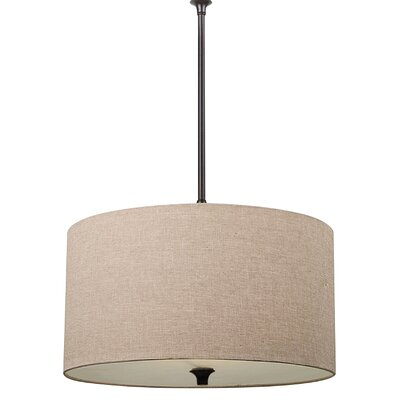Foland 1-Light Drum Pendant Base Finish: Burnt Sienna, Shade Color: Beige