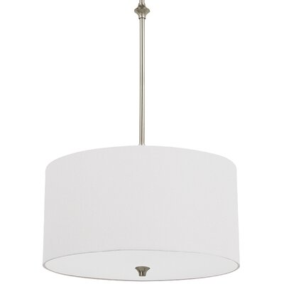 Foland 1-Light Drum Pendant Base Finish: Brushed Nickel, Shade Color: White
