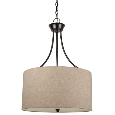 Foland 3-Light Drum Pendant Base Finish: Burnt Sienna, Shade Color: Beige