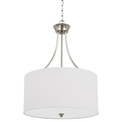 Foland 3-Light Drum Pendant Base Finish: Brushed Nickel, Shade Color: White